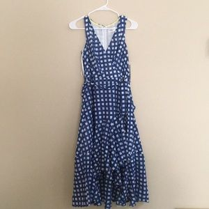 Eliza J Blue Checkered wrap dress